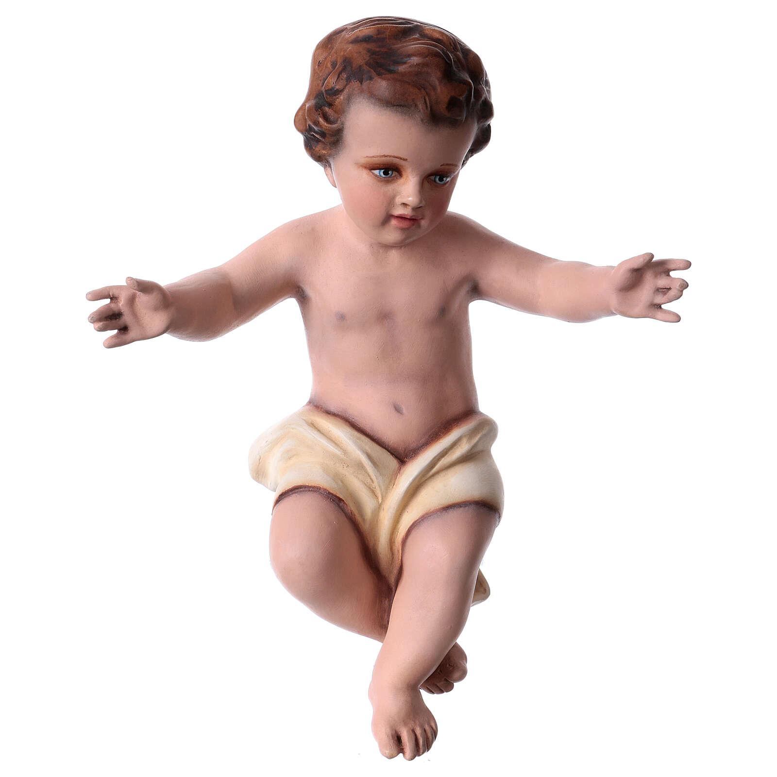 Enfant Jésus 30 cm fibre de verre colorée POUR EXTÉRIEUR 4