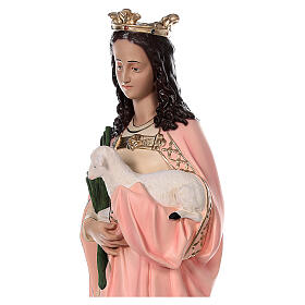 Statua Santa Agnese con agnello e palma 110 cm vetroresina s4