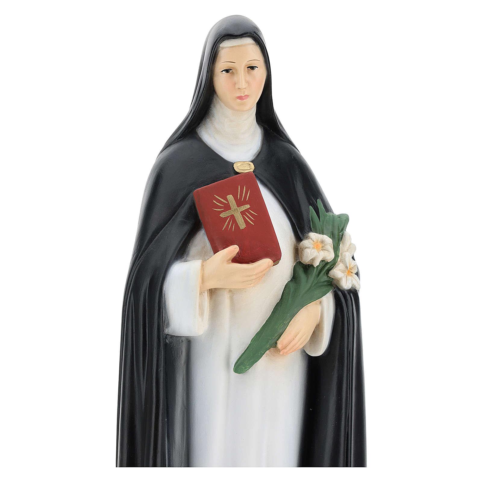 Statua Santa Caterina da Siena 40 cm resina mazzo di fiori e libro 4