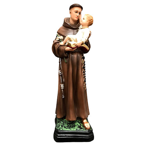 St Anthony of Padua with Child statue, 40 cm colored resin 1