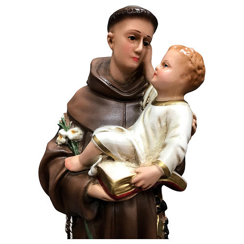 St Anthony of Padua with Child statue, 40 cm colored resin 2