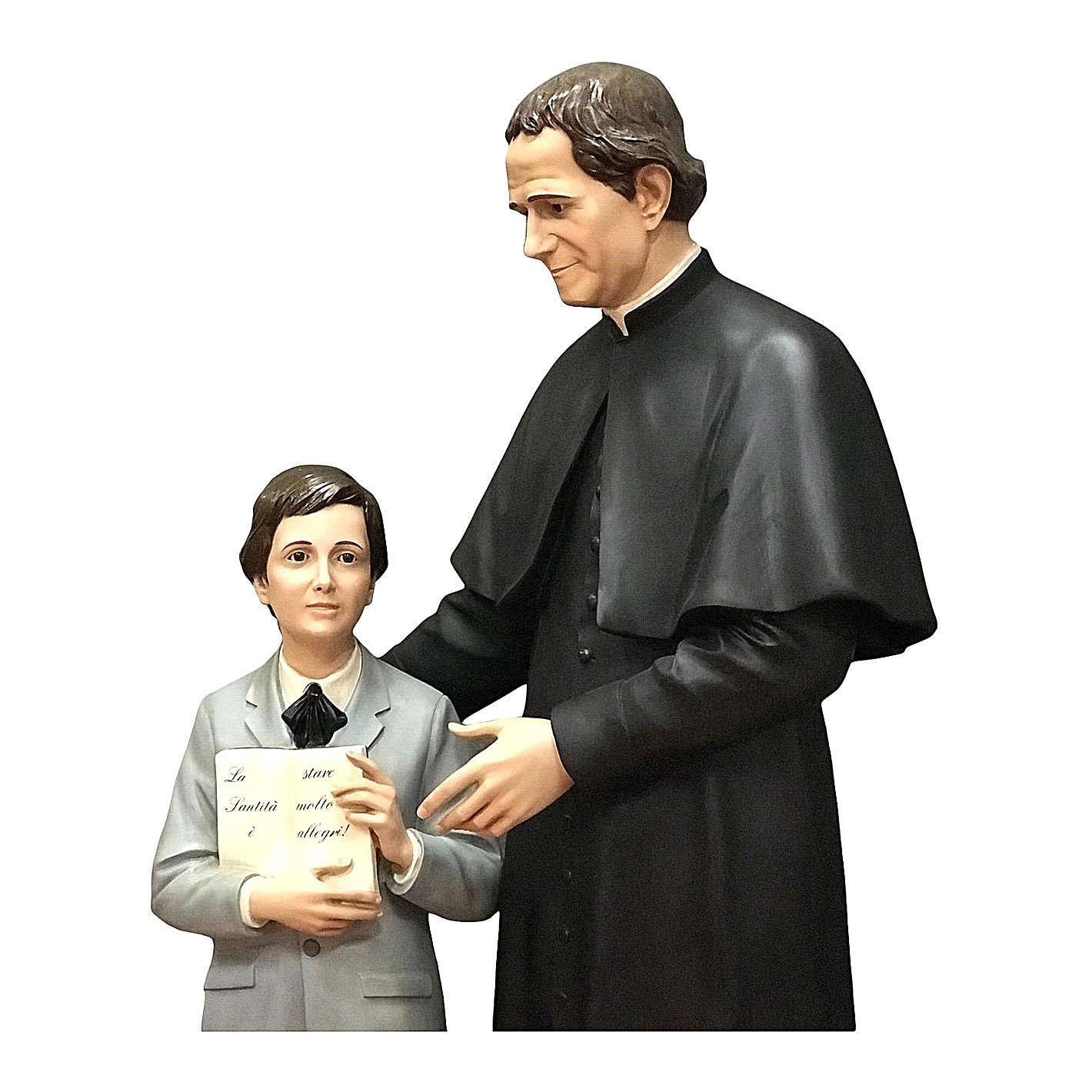 Estatua San Juan Bosco con Domingo Savio 170 cm fibra de vidrio 4