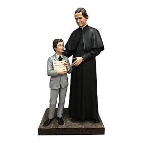 Estatua San Juan Bosco con Domingo Savio 170 cm fibra de vidrio s1