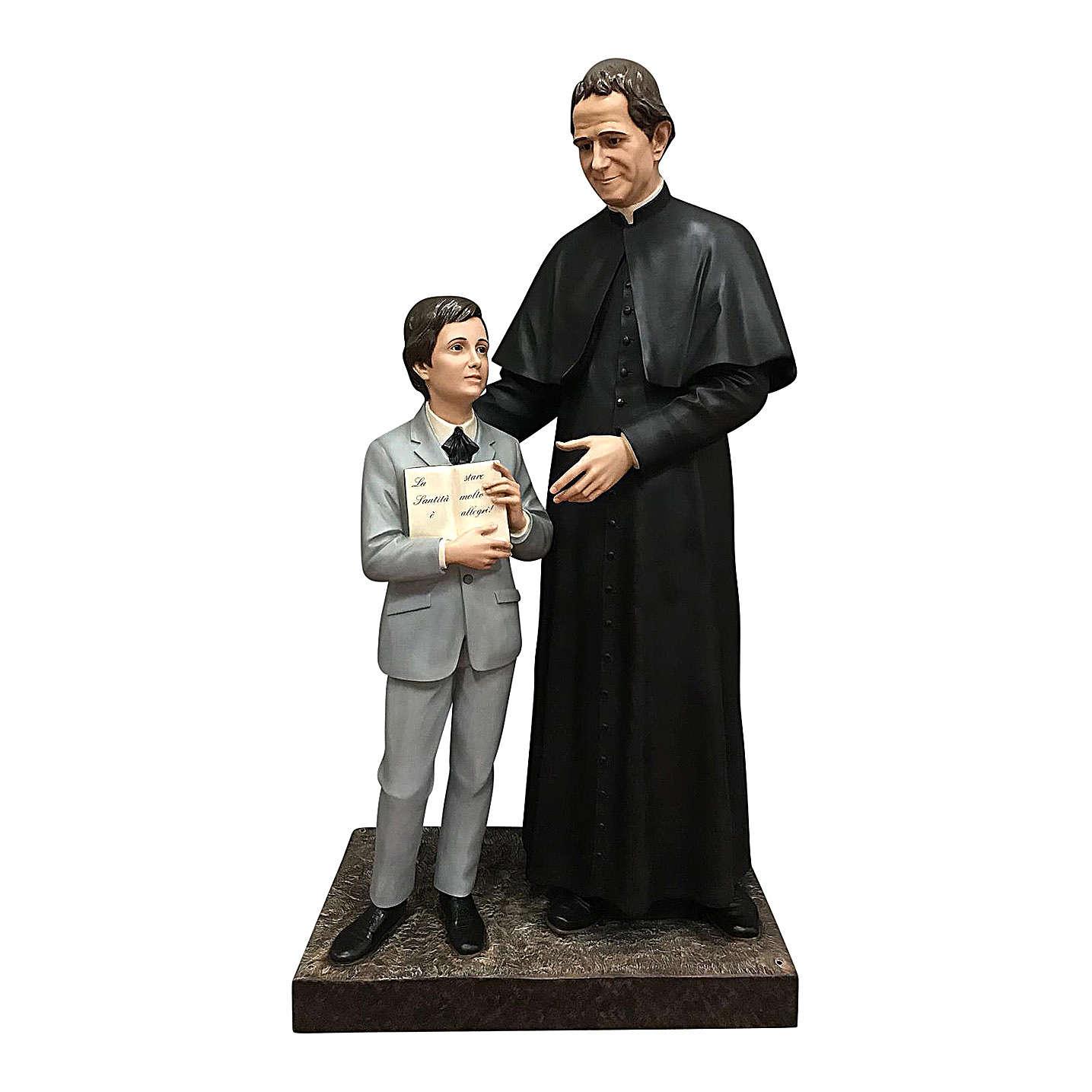 San Giovani Bosco con Domenico Savio 170 cm vetroresina occhi vetro 4