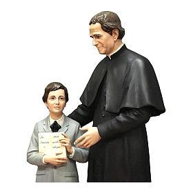 San Giovani Bosco con Domenico Savio 170 cm vetroresina occhi vetro s2