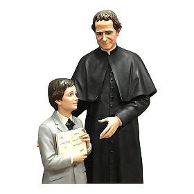 San Giovani Bosco con Domenico Savio 170 cm vetroresina occhi vetro s4