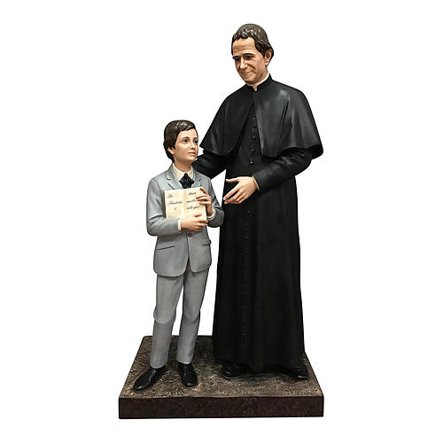 San Giovani Bosco con Domenico Savio 170 cm vetroresina occhi vetro 1