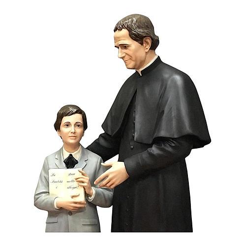 San Giovani Bosco con Domenico Savio 170 cm vetroresina occhi vetro 2