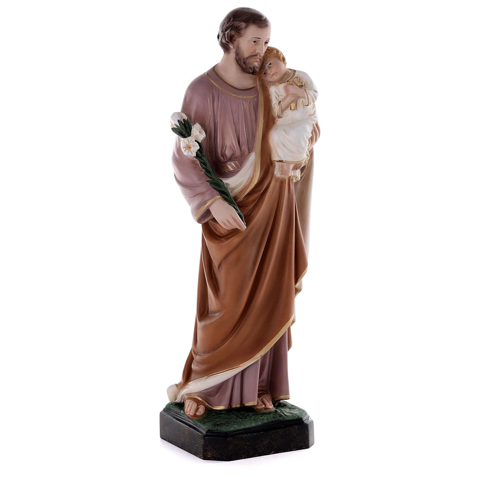 Estatua San José 50 cm fibra de vidrio coloreada 4