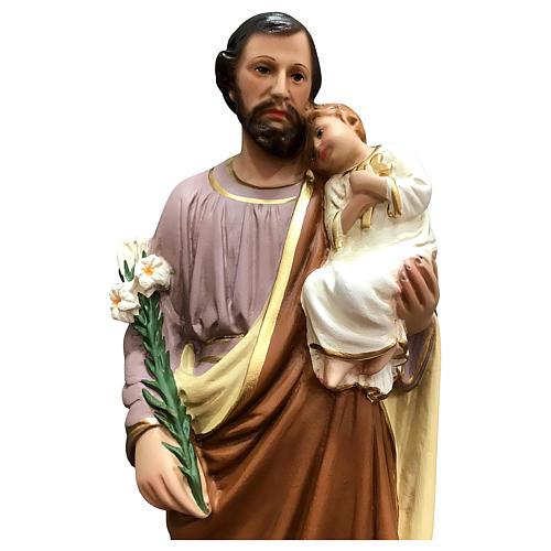 Estatua San José 50 cm fibra de vidrio coloreada 2