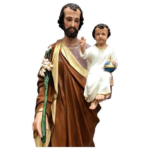Estatua San José 85 cm fibra de vidrio coloreada PARA EXTERIOR