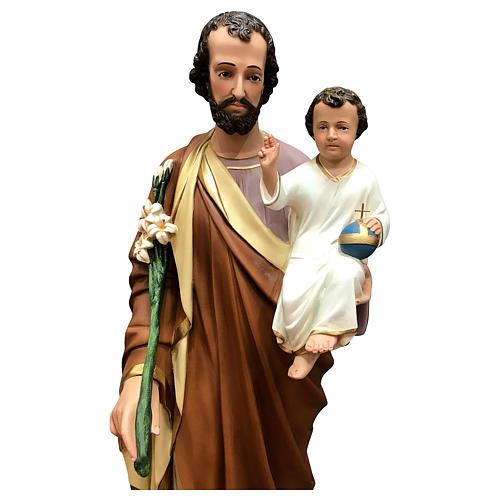 Estatua San José 85 cm fibra de vidrio pintada