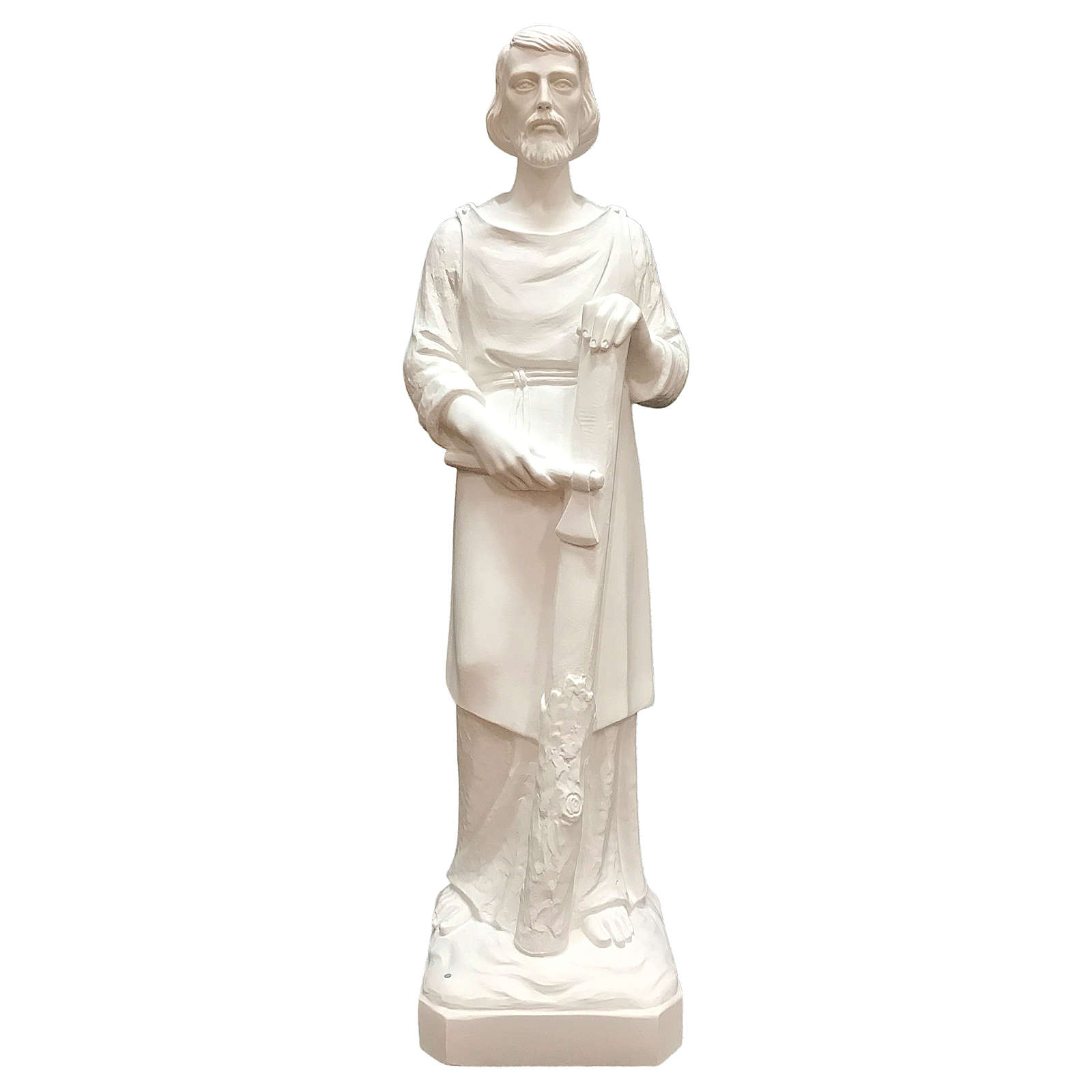 Estatua San José trabajador fibra de vidrio blanca 80 cm PARA EXTERIOR 4