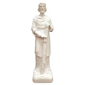 Estatua San José trabajador fibra de vidrio blanca 80 cm PARA EXTERIOR s1