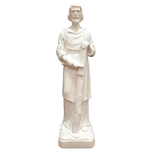 Estatua San José trabajador fibra de vidrio blanca 80 cm PARA EXTERIOR 1