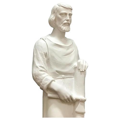 Estatua San José trabajador fibra de vidrio blanca 80 cm PARA EXTERIOR 2