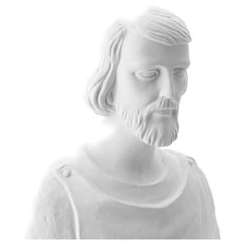 Estatua San José trabajador fibra de vidrio blanca 80 cm PARA EXTERIOR