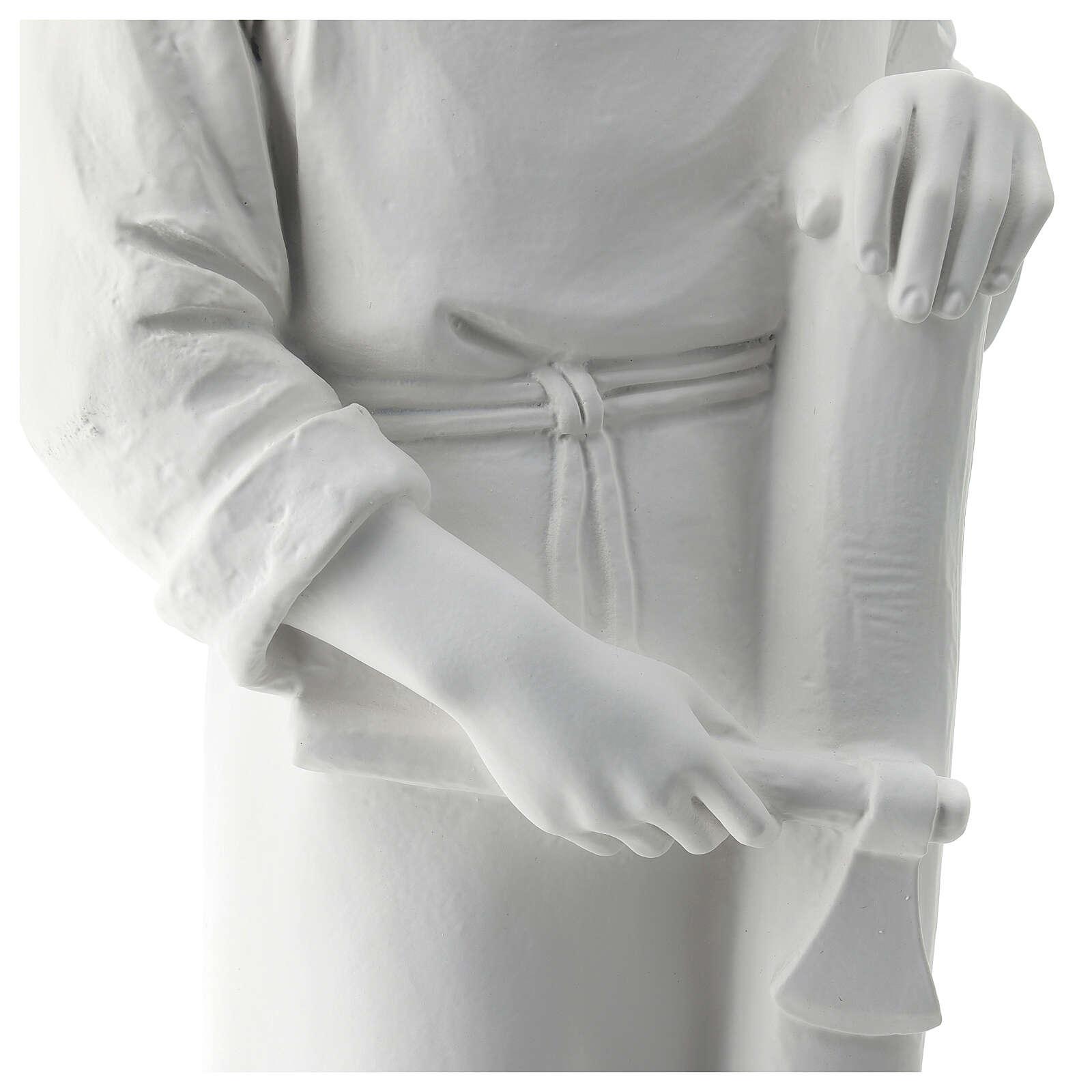 Statua san Giuseppe lavoratore vetroresina bianco 80 cm PER ESTERNO 4