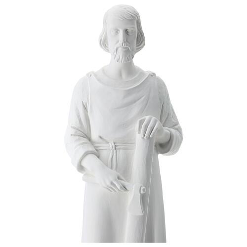 Statua san Giuseppe lavoratore vetroresina bianco 80 cm PER ESTERNO 3