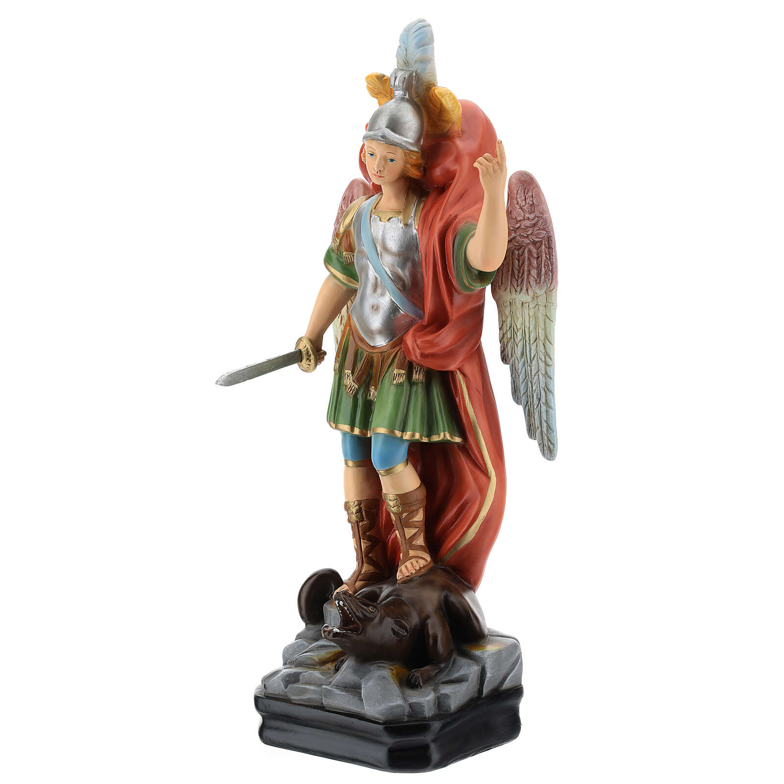 St Michael statue with sword, colored resin 45 cm 4