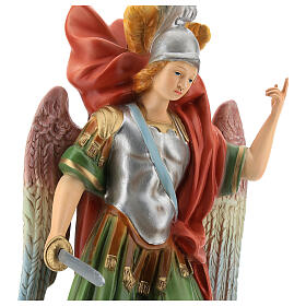 St Michael statue with sword, colored resin 45 cm s2