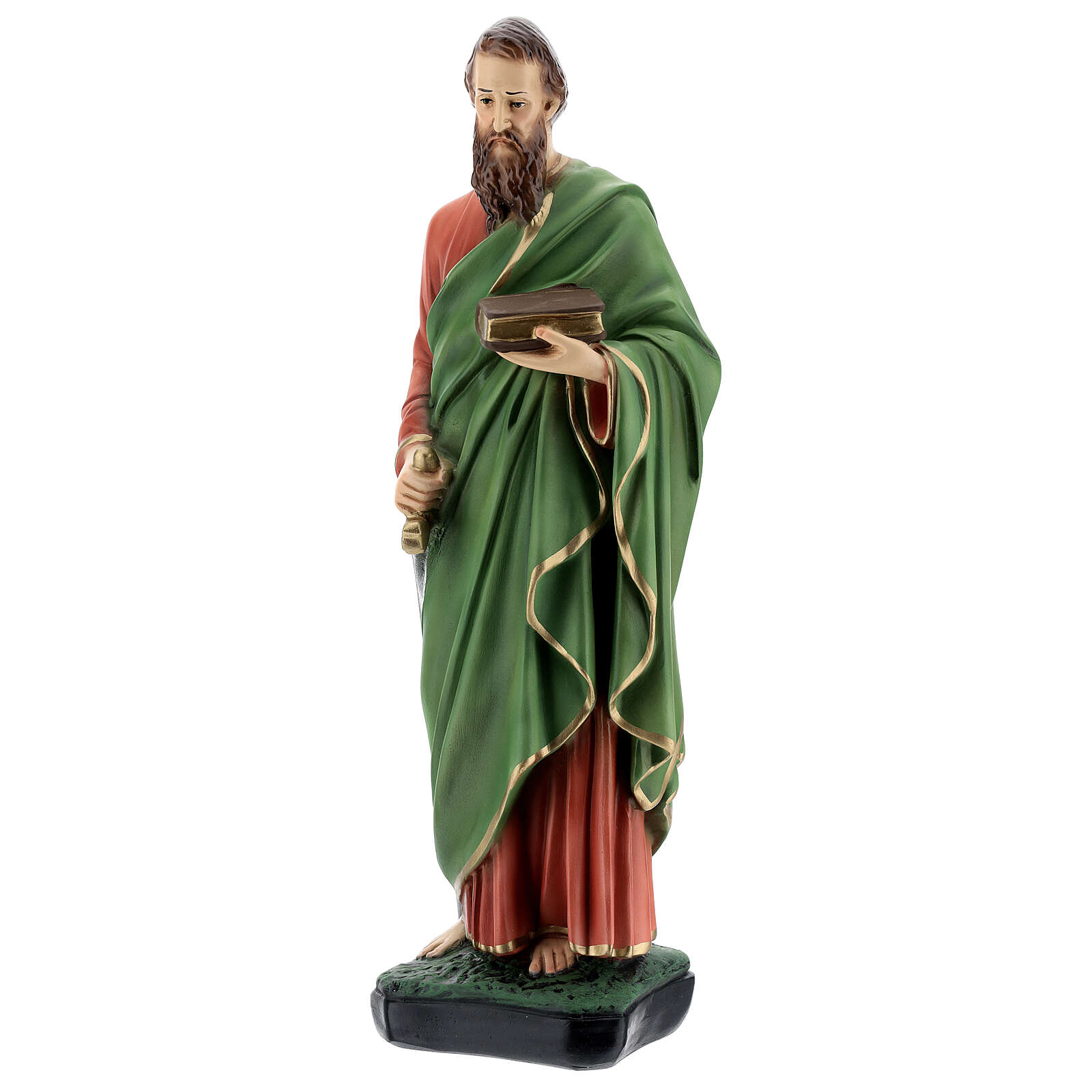 St Paul statue, 40 cm colored resin 4