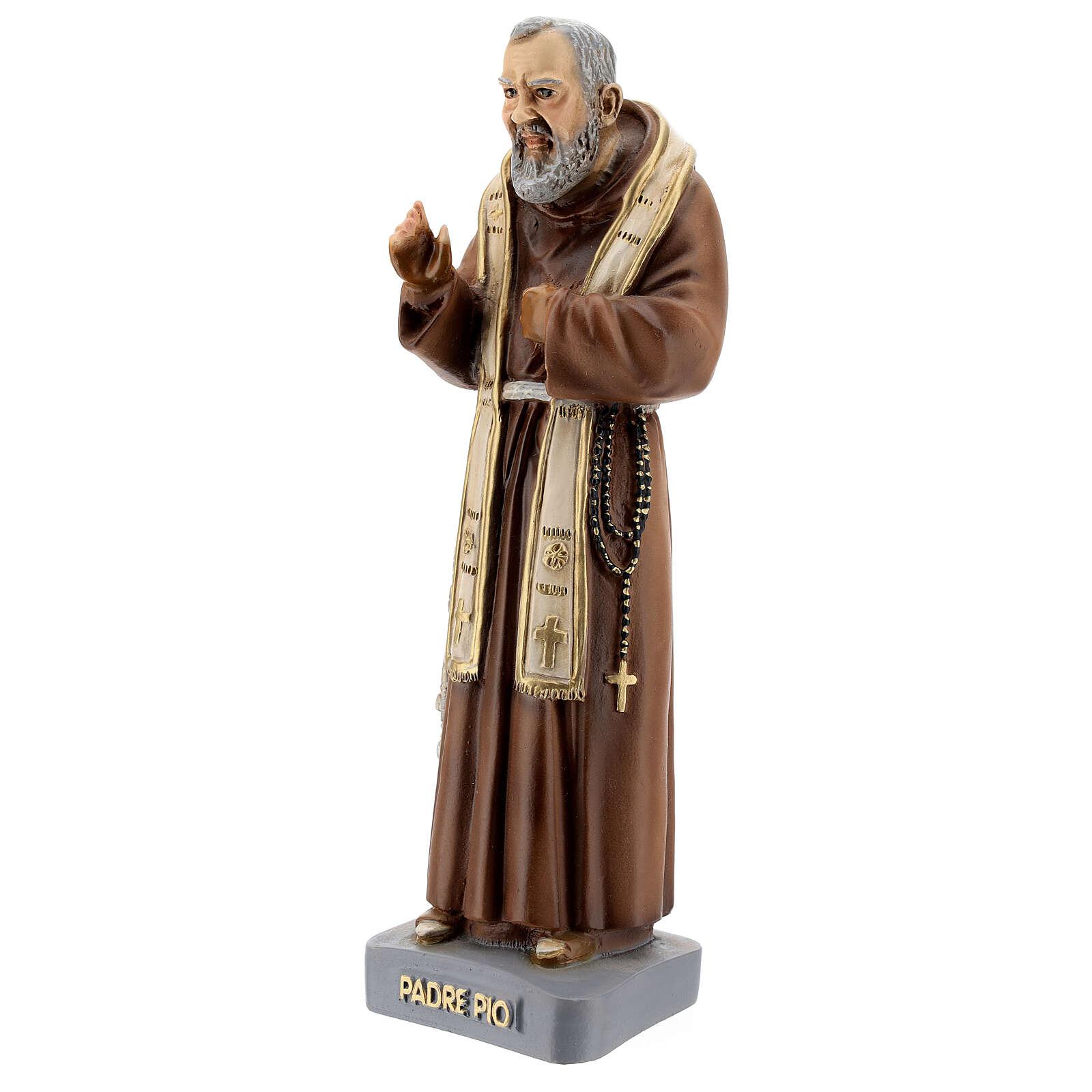 Statue Saint Pio avec étole 26 cm résine colorée 4