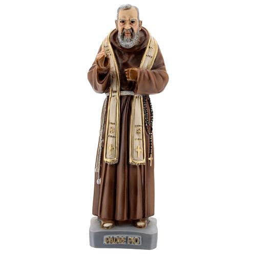 Statue Saint Pio avec étole 26 cm résine colorée 1