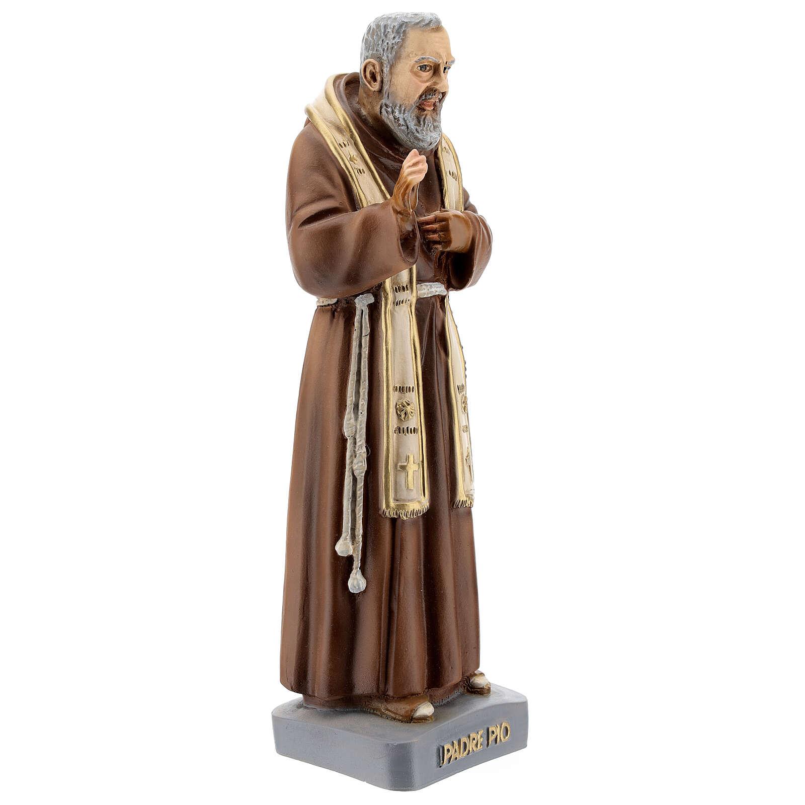 Statua San Pio con stola 26 cm resina colorata 4