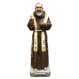 Statua San Pio con stola 26 cm resina colorata s1