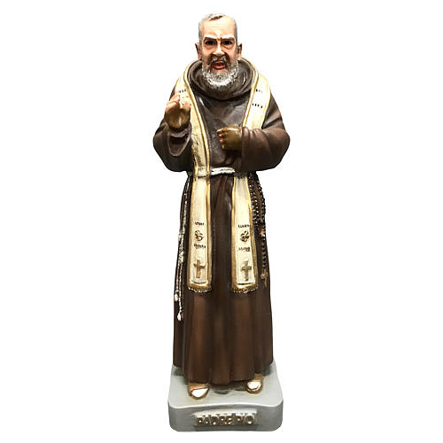Statua San Pio con stola 26 cm resina colorata 1