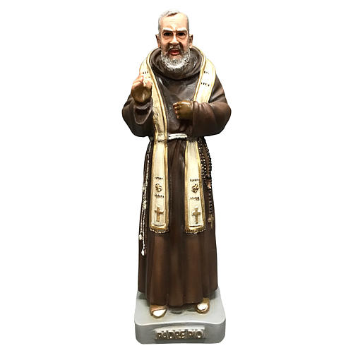 Statue Saint Pio 26 cm résine colorée 1
