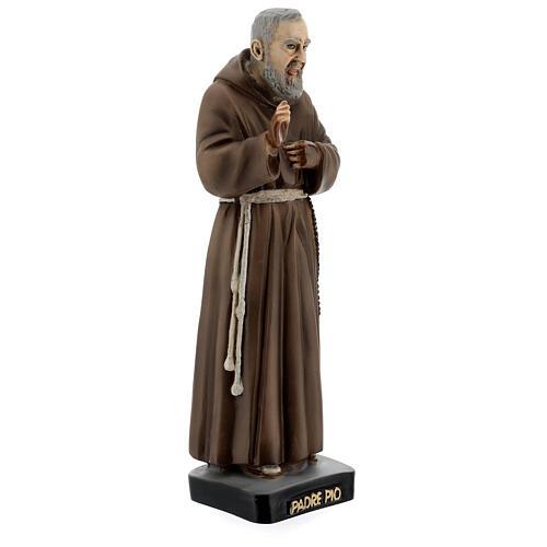 Statue Saint Pio 26 cm résine colorée 3