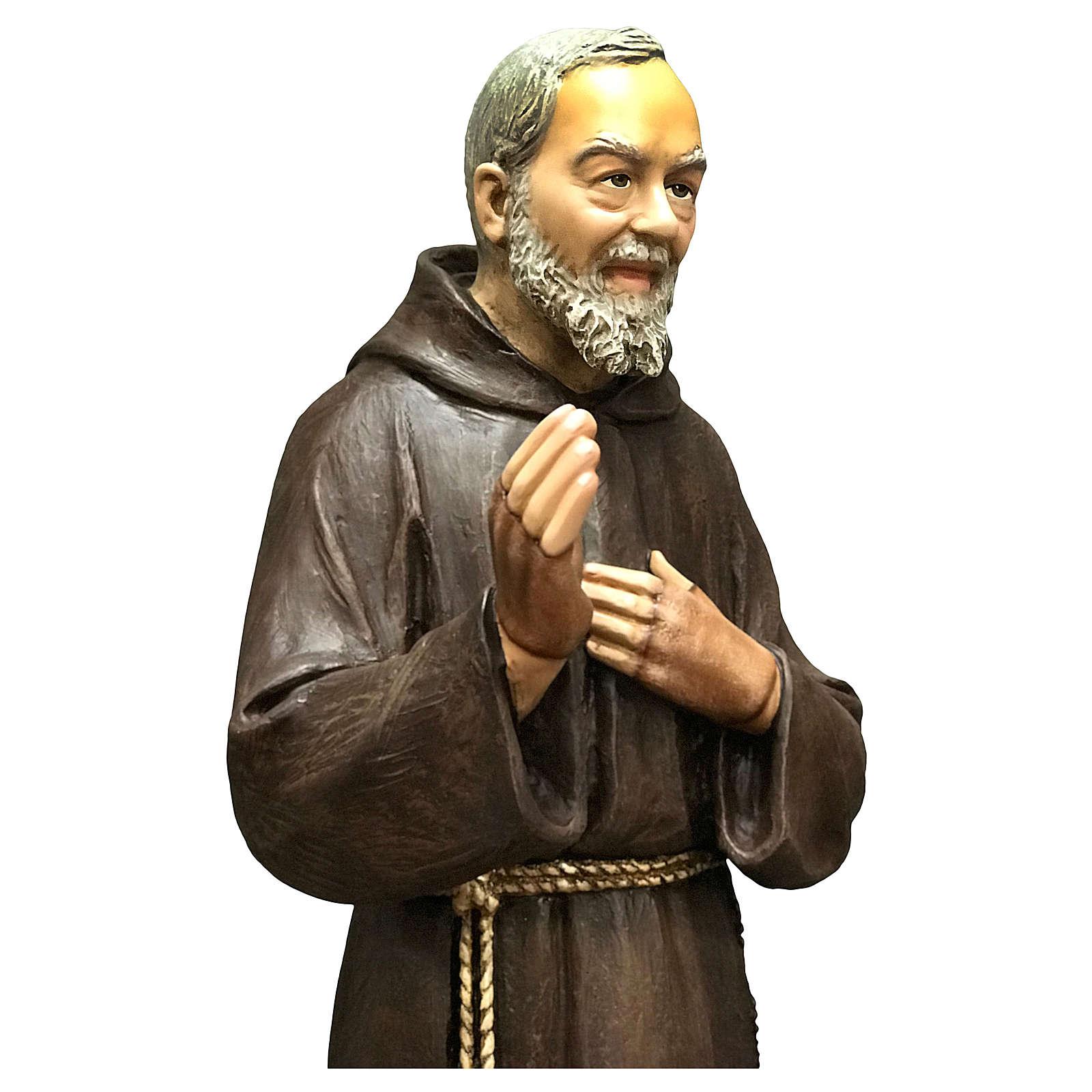 Statue Saint Pio 82 cm fibre de verre colorée 4