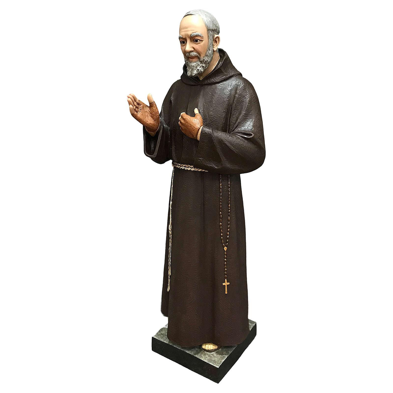 Statue Saint Pio fibre de verre 110 cm colorée avec oeil de verre 4