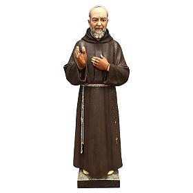 Statue Saint Pio fibre de verre 110 cm colorée avec oeil de verre s1