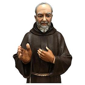 Statue Saint Pio fibre de verre 110 cm colorée avec oeil de verre s3