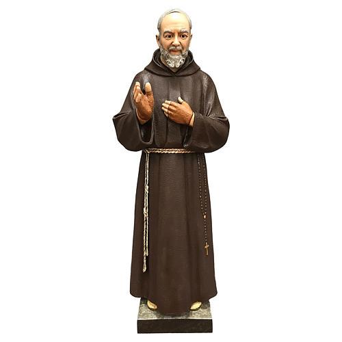 Statue Saint Pio fibre de verre 110 cm colorée avec oeil de verre 1
