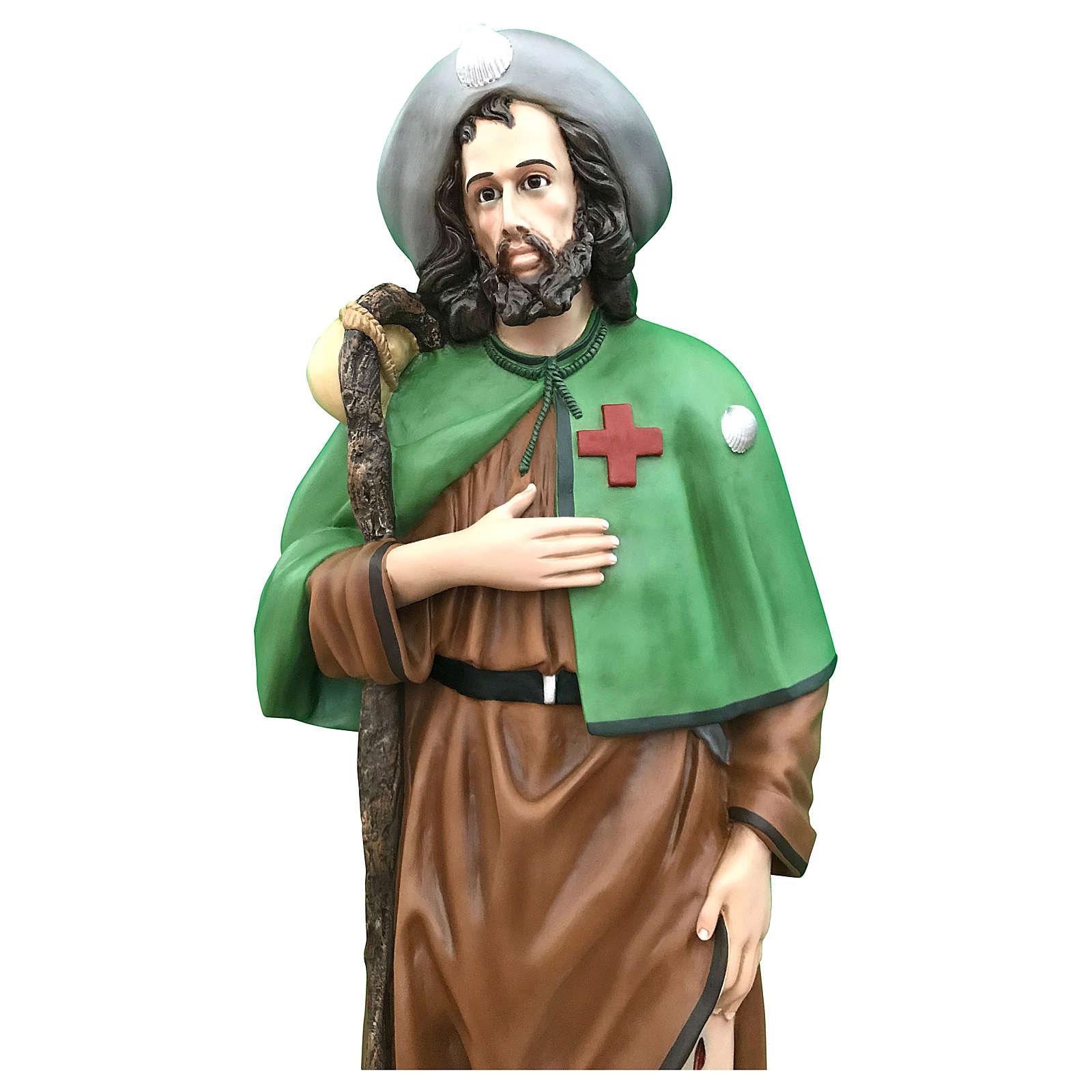 Estatua San Roque 115 cm fibra de vidrio coloreada ojos de cristal 4