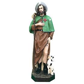 Estatua San Roque 115 cm fibra de vidrio coloreada ojos de cristal s1