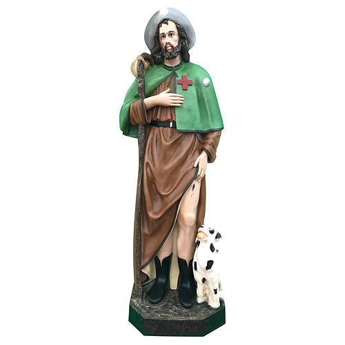 Estatua San Roque 115 cm fibra de vidrio coloreada ojos de cristal 1