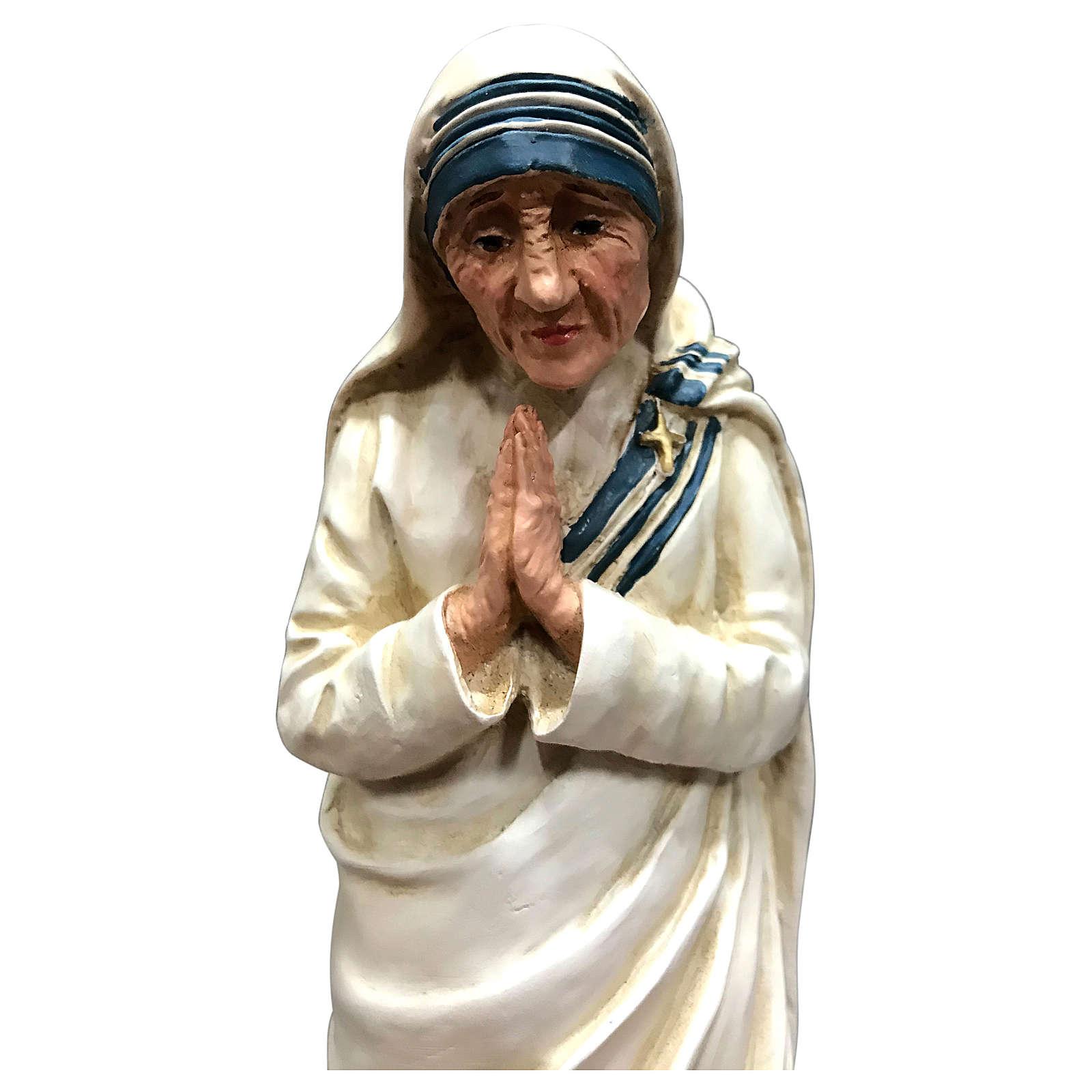Statua Madre Teresa di Calcutta con mani giunte resina 25 cm 4