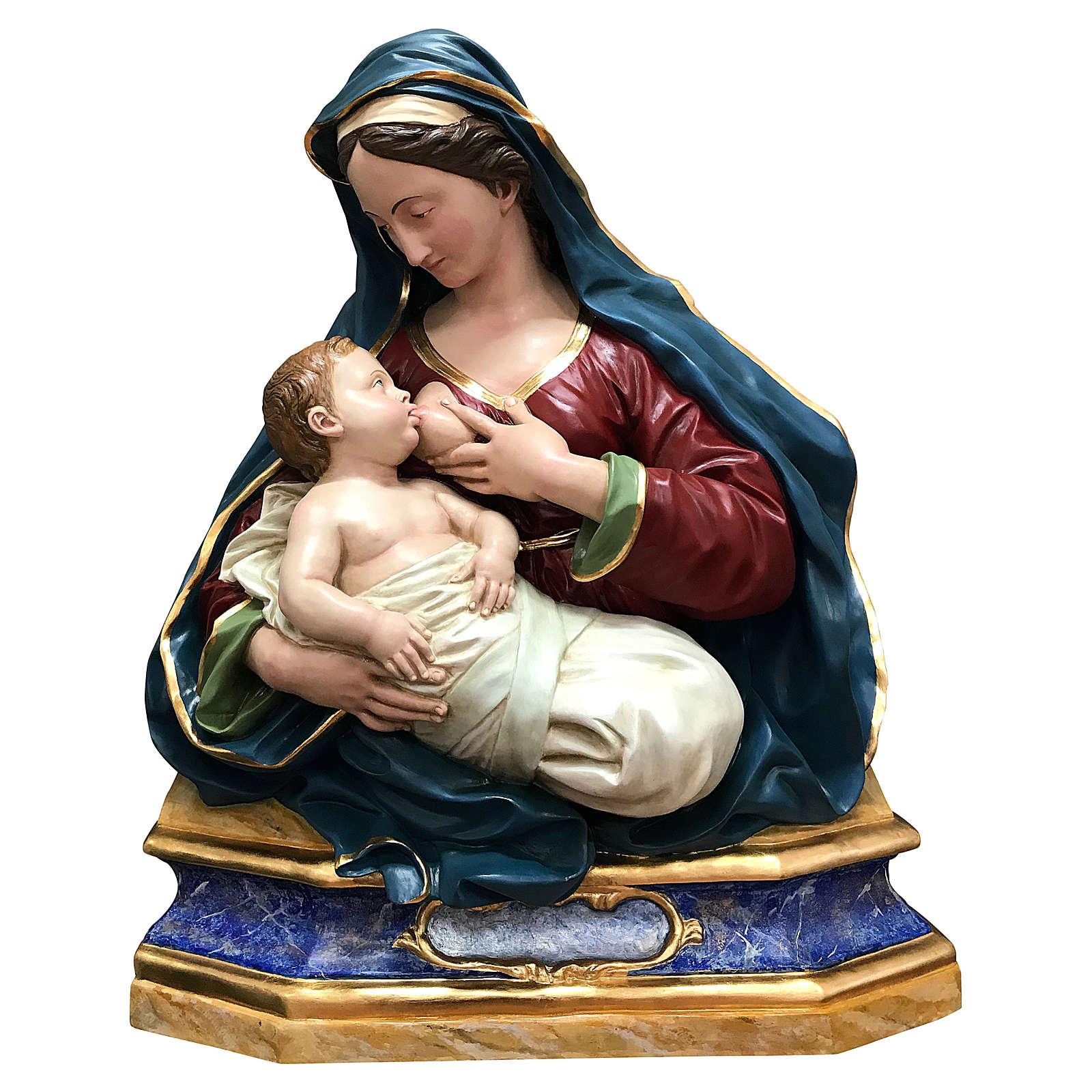 Estatua Virgen de las Gracias busto 100 cm fibra de vidrio pintada 4