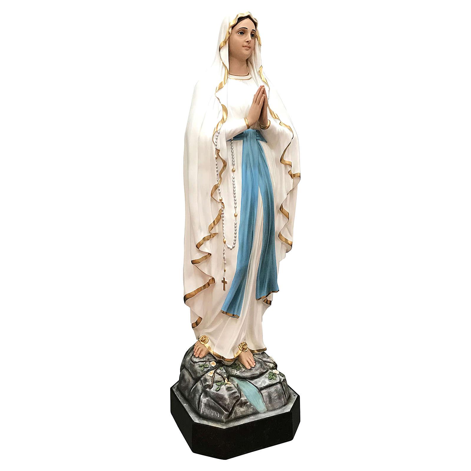 Estatua Virgen de Lourdes fibra de vidrio 130 cm pintada ojos de cristal 4