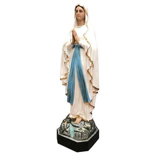 Estatua Virgen de Lourdes fibra de vidrio 130 cm pintada ojos de cristal 3