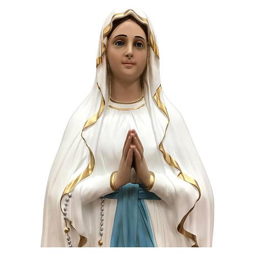 Statua Madonna di Lourdes vetroresina 130 cm dipinta occhi vetro 2