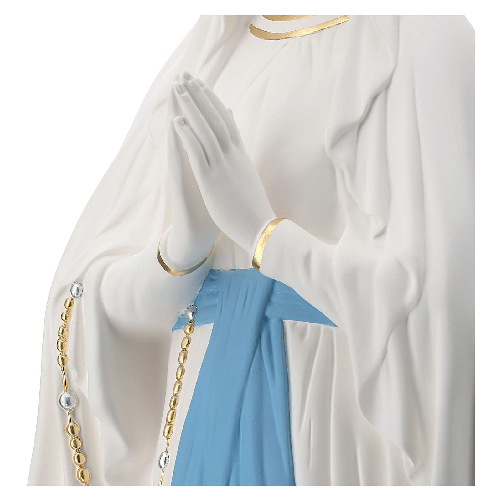 Statua Madonna di Lourdes vetroresina 130 cm bianca PER ESTERNO 4