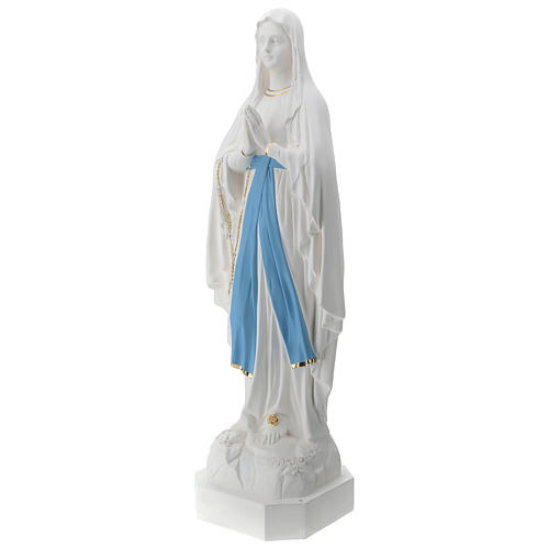 Statua Madonna di Lourdes vetroresina 130 cm bianca PER ESTERNO 3