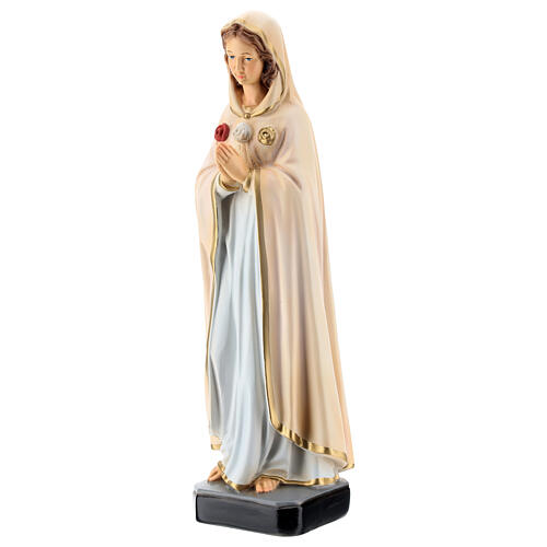 Statue of Mary of the Mystic Rose in painted resin 30 cm 3
