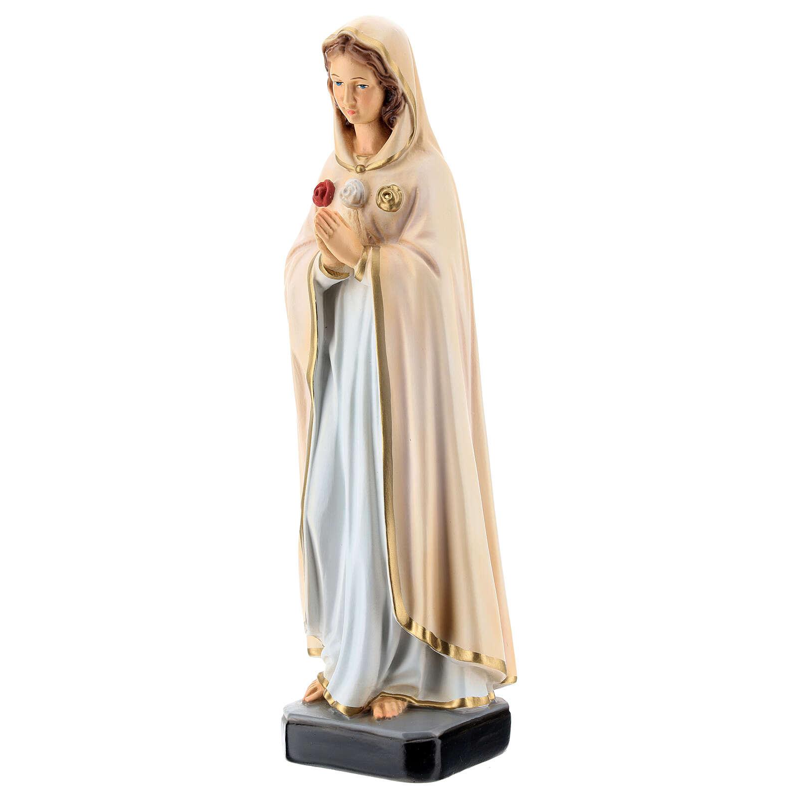 Statue Notre-Dame Rose Mystique résine 30 cm peinte 4